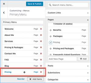 Added a New Menu Item to a WordPress Menu in the Theme Customizer